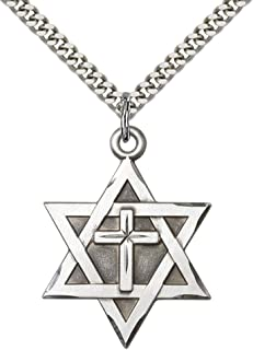 "F A Dumont Sterling Silver Star of David W/Cross Pendant with 24"" Stainless Steel Heavy Curb Chain."