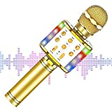 【2020最新版】 カラオケマイク bluetooth ワイヤレスマイク LEDライト付き 音楽再生 録音可能 家庭カラオケ ポータブルスピーカー ノイズキャンセリング 2400mAh TFカード機能 Android/iPhoneに対応 XIANRUI (ゴールド)