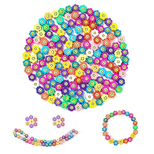200 cuentas de cara sonriente de flores de 10 mm de arcilla polimérica mezcladas para collares y pulseras hechas a mano para hacer accesorios (flor cara sonriente)