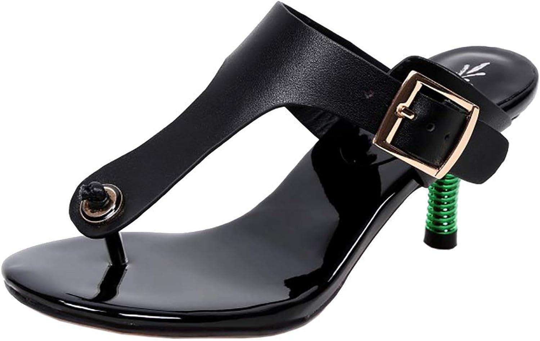 CularAcci Women Fashion Mid Heel Slides Sandals