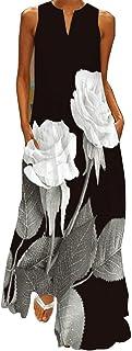 WINKEEY Vestido Maxi para Mujer Estampado Floral Mariposa Bohemio Vestido de Verano con Bolsillos Sin Mangas Moda Talla Gr...