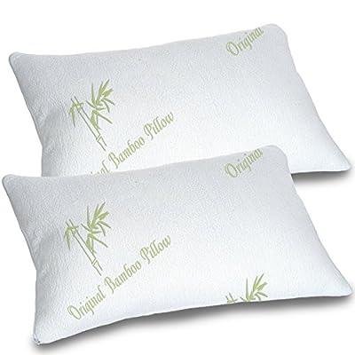 Original Bamboo Pillows for Sleeping Pillow - Standard/Queen Size - Adjustable Shredded Memory Foam Bed Pillow