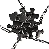 Lux Accessories Black Five Puzzle Shaped Engraved Words Friendship Necklace