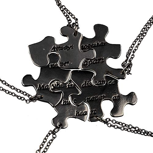 Lux Accessories Gold Tone Five Puzzle Shaped Engraved Words Friendship Necklace