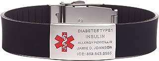 BAIYI Medical Alert ID Sports Bracelet Silicone Wristband Adjustable Size for Men and Women