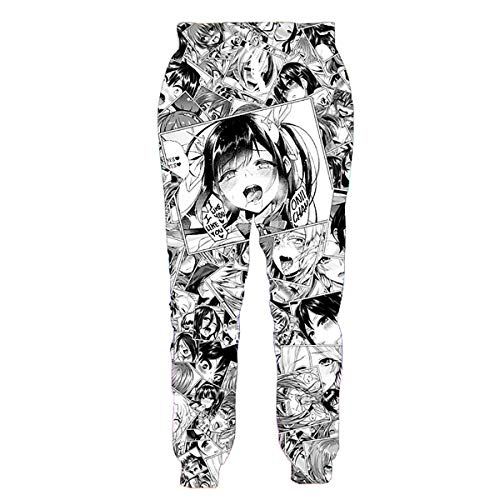 NUOHUX Men's Ahegao Sweatpants Anime Pants Funny 3D Pattern Trouse Gym Joggers for Running (a3,L)