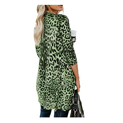 iHENGH Damen Herbst Winter Bequem Lässig Mode Frauen Langarm Leopard Print Mode Mantel Blusen T Shirt Tank Tops(3XL,Grün)