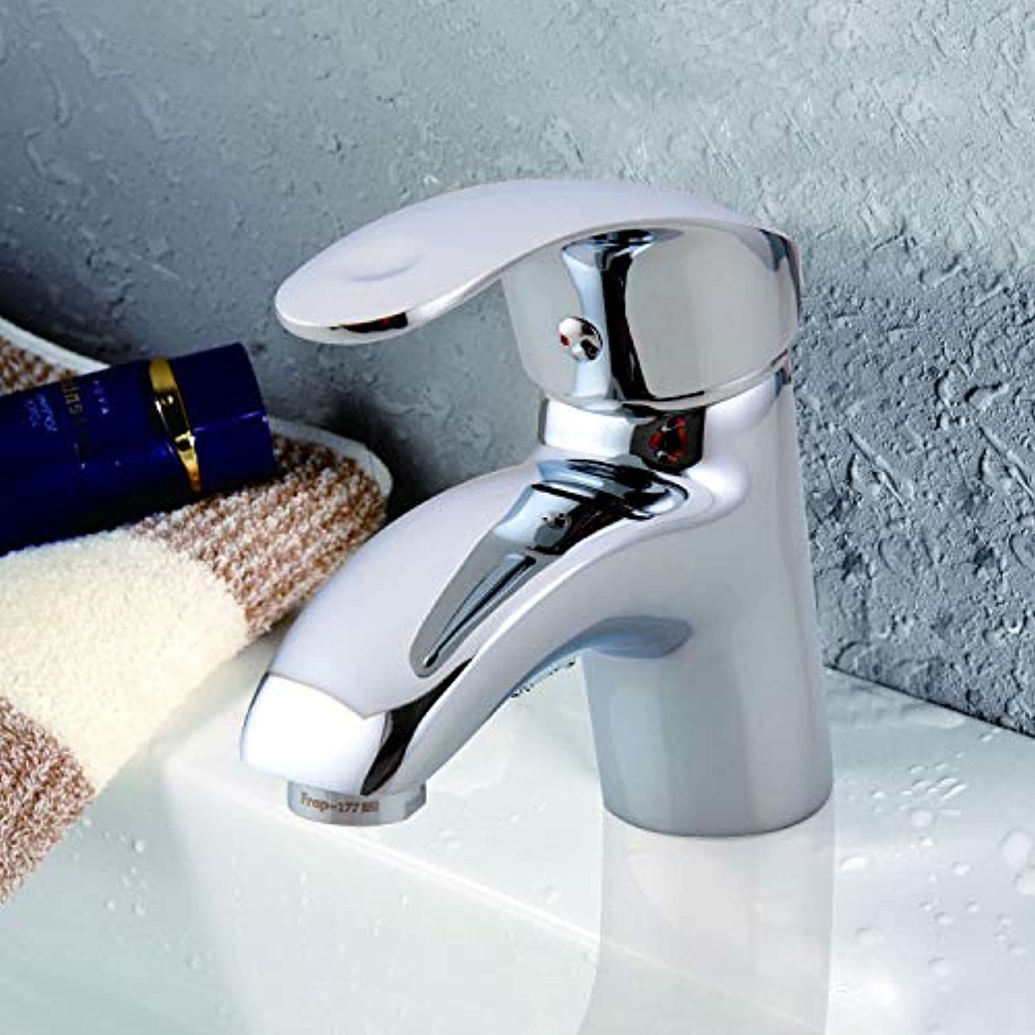 Bathroom Single Handle Chrome Single-Slot Faucet, Basin Hot And Cold Water Faucet Mixing Valve Wash Basin Single Hole Faucet
