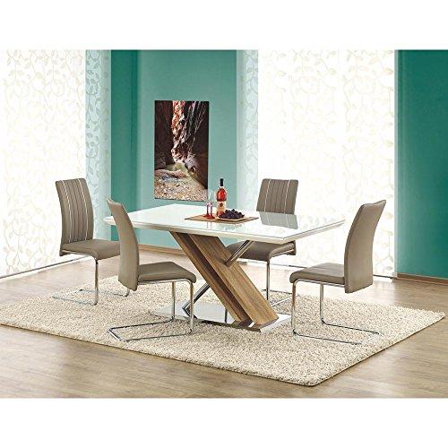 JUSTyou Nexus Ausziehtisch Küchentisch Esstisch aus Glas Transparent Weiß (LxBxH): 160x90x76 cm