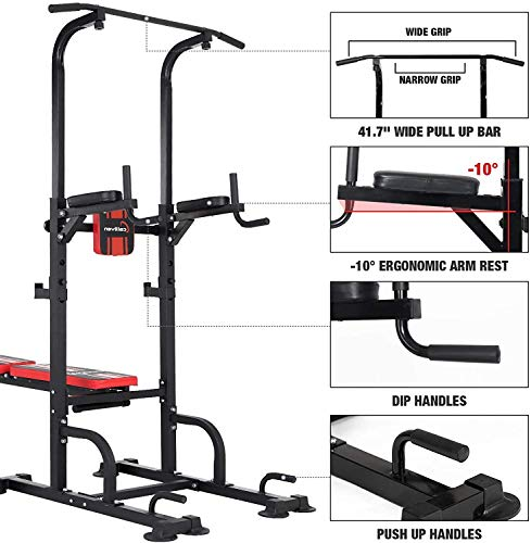 ER KANG Power Tower Dip Station, 850lbs Weight Capacity Workout Station with Dip Stands, Pull Up Chin Up Tower, Adjustable Weight/Sit-Up Bench for Strength Training, Home Gym(2021 Version)