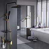 HYCy Juego de ducha cuadrado de cobre con botones negros y dorados Juego de ducha de cuatro botonesColumna de ducha de...
