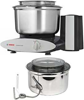 Bosch 800-Watt Universal Plus Stand Mixer (Black) with 6.5-Quart Stainless Steel Bowl Bundle (2 Items)
