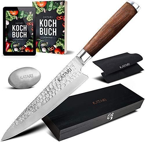 KATARI Premium Damastmesser 20cm Profi Küchenmesser handgeschliffen scharfe Klinge aus 67-lagigem hochwertigem japanischen Damaststahl und ergonomischem Walnussholz Griff mit Geschenkbox
