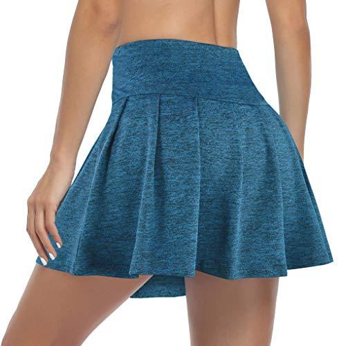Cestyle Damen Tennisrock, plissiert, für Sport, Laufen, Reisen, Schwimmen, Golf, Skorts mit integrierten Shorts - Blau - Groß