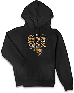 Women's Style Pullover Hoodie Grandpa is My Name Fishing is My Game Athletic Sweatshirt Fleece with Pocket Blouse Tops
