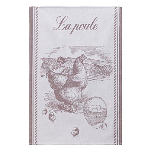 Coucke TNO-220-7089101-000-CKE Torchon Jacquard LA Poule Brune, Coton, Marron, 50 x 75 cm