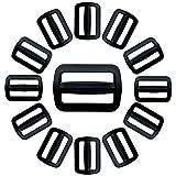 IPEA Hebillas de plástico de doble entrada para mochilas y bolsos – 20 unidades – Trabilla ajustable negra de la correa para cinturones, bolsos, cascos y accesorios – Tamaño 20 mm