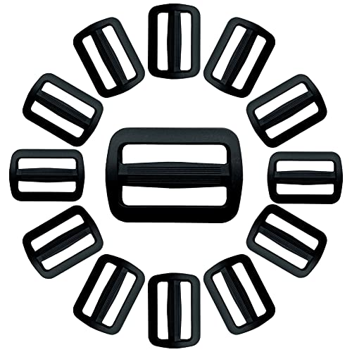 IPEA Hebillas de plástico de doble entrada para mochilas y bolsos – 20 unidades – Trabilla ajustable negra de la correa para cinturones, bolsos, cascos y accesorios – Tamaño 30 mm