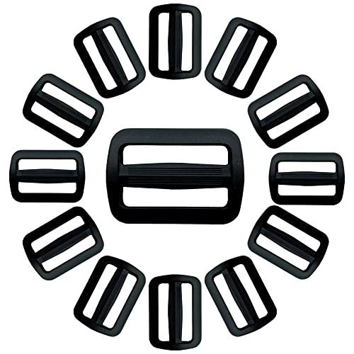 IPEA Fibbie Passanti in Plastica a Doppia Entrata per Zaini e Borse – 20 Pezzi – Passante Regolatore Nero della Cinghia per Cinture, Borsoni, Caschi, Accessori – Misura 25 mm
