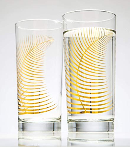Drinking Glasses Made in the USA, Metallic Gold Ferns - Set of 2