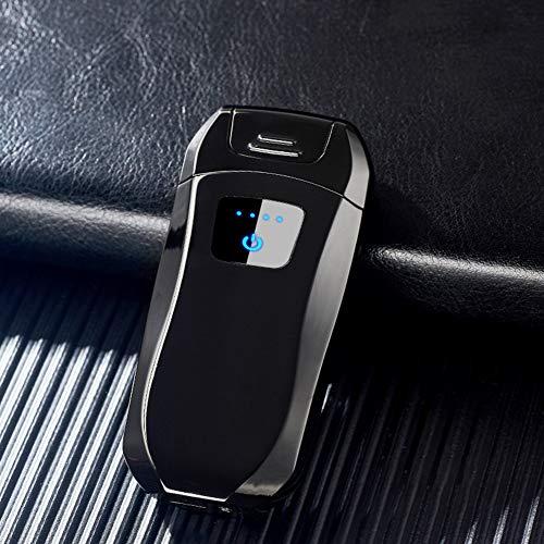 RONSHIN elektrische aansteker USB oplaadbare dubbele boog vlamloos Plasma winddicht geen gas, Black ice