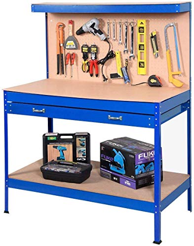 Goplus Steel Workbench Tool Storage Work Bench Workshop Tools Table W/Drawer and Peg Board (Blue)