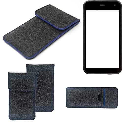 K-S-Trade Handy Schutz Hülle Für Cyrus CS 22 Schutzhülle Handyhülle Filztasche Pouch Tasche Hülle Sleeve Filzhülle Dunkelgrau, Blauer Rand
