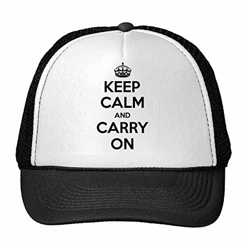 DIYthinker Zitat Behalten Sie Ruhe und Machen Sie weiter Black British Royal Crown Krieg Frieden Plakat Illustration Muster Retromütze Baseballkappe Nylon-Mesh-Kühler Hut justierbare Kappe Kinder