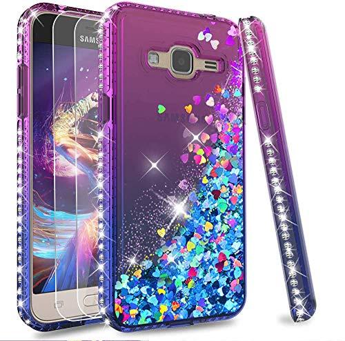 LeYi Custodia Galaxy J3 2016 Glitter Cover con Vetro Temperato [2 Pack],Brillantini Diamond Silicone Sabbie Mobili Bumper Case per Custodie Samsung J3 2016/J3/SM-J320 Donna ZX Purple Blue Gradient