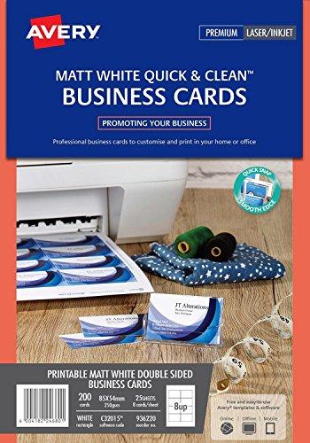Avery Quick&Clean Visitekaartjes, dubbelzijdig bedrukbaar, voor inkjetprinter, mat