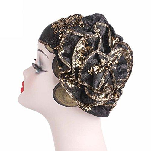 Ssowun Femmes Turban Chapeau Fletion Bandeau Noué Headband Ladies Plissé Tête Enroulez Indien Foulard Turban