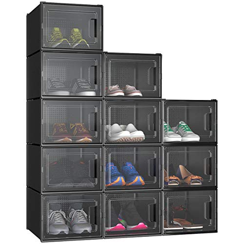 YITAHOME Shoe Box, Set of 12 Large Size Shoe Storage Organizers Heavy Duty Stackable Clear Shoe Storage Box Rack Clear Drawer-Black