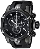 Invicta Men's Reserve Venom 53.7mm Black Stainless Steel Chronograph Quartz Watch with Black Silicone Strap, Black (Model: 6051)