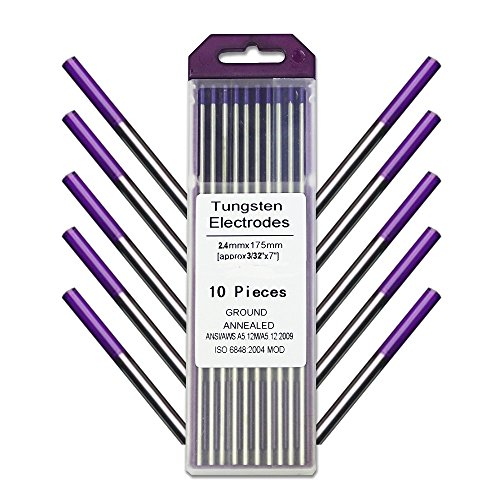 WeldingCity 10-pk TIG Welding Tungsten Electrode Tri-Element Non-Radioactive (Purple) 3/32