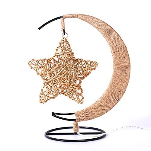 SBNM Lámpara de Mesa de Cuerda de cáñamo de Estrella, Forma de Estrella Regulable, Creativa, Decoraciones románticas de Dormitorio, Adecuado para Dormitorio, Estudio, decoración