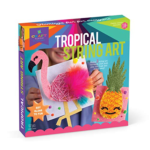 Craft-tastic DIY String Art – Craft Kit for Kids – Everything Included for 2 Arts & Crafts Projects – Features a Fun Flamingo & Pineapple Patterns