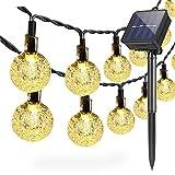 Lámparas solares de cadena Exterior Jardín, 6,5 m 30 LED Impermeable Luces de Hadas Globo Bola de Cristal Decoración Festival Vistoso Luz para Partido Boda Patio Navidad Decoración (Blanco Cálido)