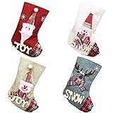 Juego de 4 calcetines de Navidad para árbol de Navidad, calcetines de Navidad, bolsa de regalo personalizables, para niños (Papá Noel, muñeco de nieve, renos)