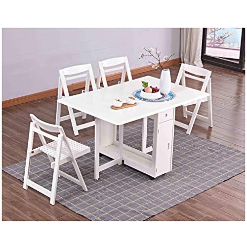MYGIRLE - Mesa plegable de madera para balcón, ahorra espacio, para jardín, terraza y balcón, con 1 mesa y 4 sillas