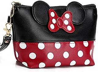 Cartoon Leather Travel Makeup Handbag, Cute Portable Cosmetic bag Toiletry Pouch for Women Teen Girls Kids (Black)