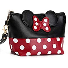 """Minnie Mouse Ears style Polka dots Cosmetic bag Material: soft leather, smooth and durable. Size: 5.1"""" H x 2.4"""" W x 5.9"""" L ( Upper Length 8.3""""). Fitness: cosmetic bags, makeup organizer, makeup clutch, accessories pouch, travel makeup or toiletry bag..."""