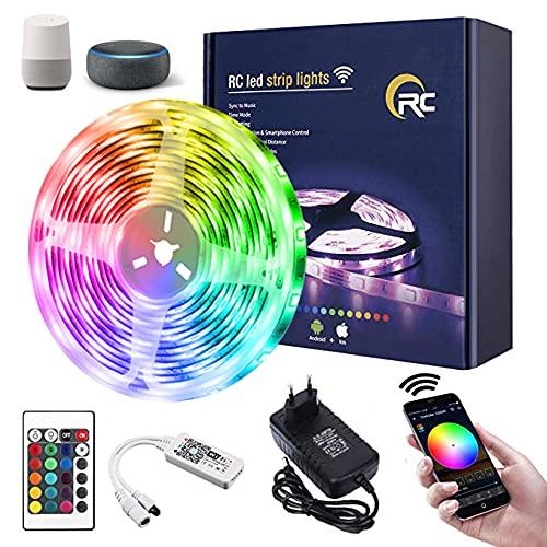 Tira LED 10M,RC WiFi 5050 Luces LED RGB,Compatible con Alexa/Google Assistant,Remoto de 24 Botones & Función Musical,Tiras LED RGB para Habitacion,Techo, Pared Decoración