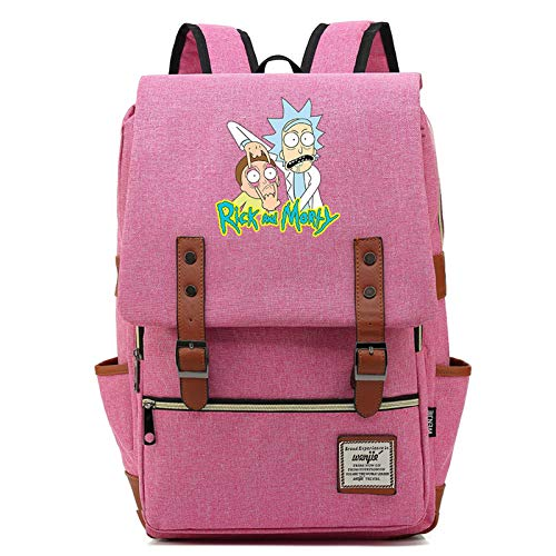 DDSGG Laptop Backpack, Lightweight College School Backpack, Rick and Morty Travel Every Day Backpack, Casual Anti Theft Computer Book Bags,Large
