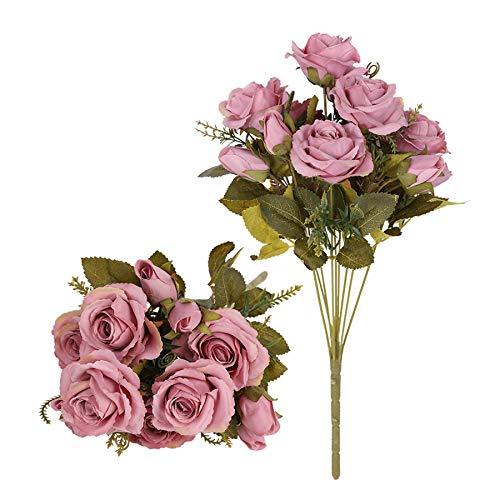 Tifuly Rosas Artificiales, 2 Ramos 12 Flores de Seda Cabezas de Flores Falsos capullos de Rosas para el hogar Oficina Hotel Decoración de la Boda, Arreglo Floral, Centros de Mesa(Rosa Oscuro)