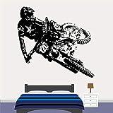 XAOQW Motocross Dirt Bike Pared calcomanía Boys Bedroom playroom decoración casa decoración Moto Arte Deportivo Arte Vinilo Ventana Pegatina mural-15 Blue_28x30 cm