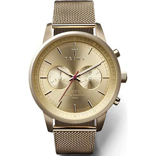 Triwa Unisex Erwachsene Chronograph Quarz Uhr mit Edelstahl Armband NEST104:2-ME021313