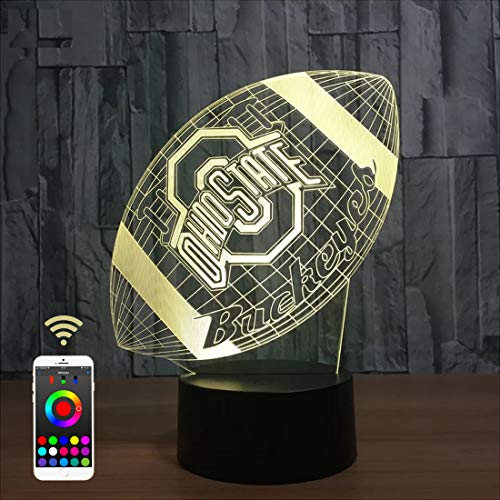 Lucky2Buy Phone Remote Control NCAA Ohio State University Team Logo Optical Decor Toy Lamp (Buckeyes)