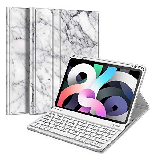 Fintie Funda con teclado para iPad Air 4 10.9 pulgadas 2020 – [soporte para lápiz integrado] cubierta trasera de TPU suave con teclado Bluetooth inalámbrico desmontable magnético para iPad Air de 4ª generación, color blanco mármol
