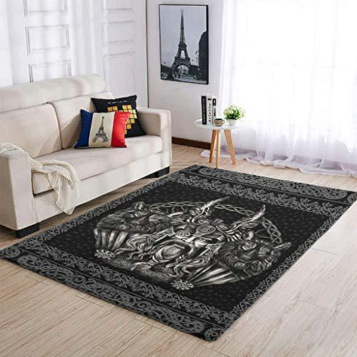 Alfombras vikingas de Odin y su lobo, muy lindas, cómodas, para sala de estar, para niños y niñas, 50 x 80 cm, color blanco