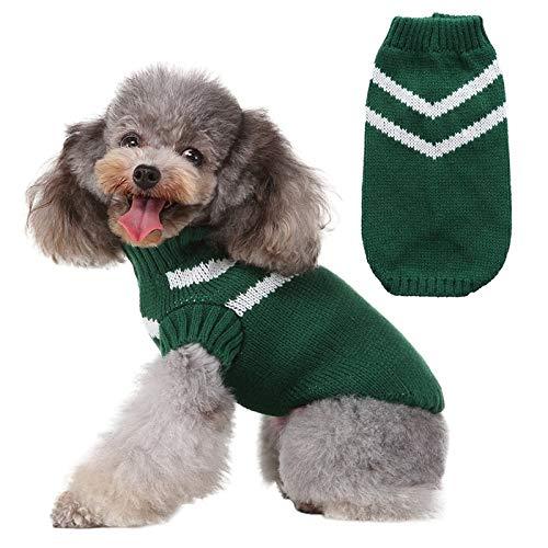 YYMMQQ Haustierkleidung Haustier Hund Pullover für Herbst Winter Weiche Warme Strick Outfits Häkeln Kleidung für Kleine Mittlere Hunde Chihuahua Classic Stripes Hundebekleidung, G, M